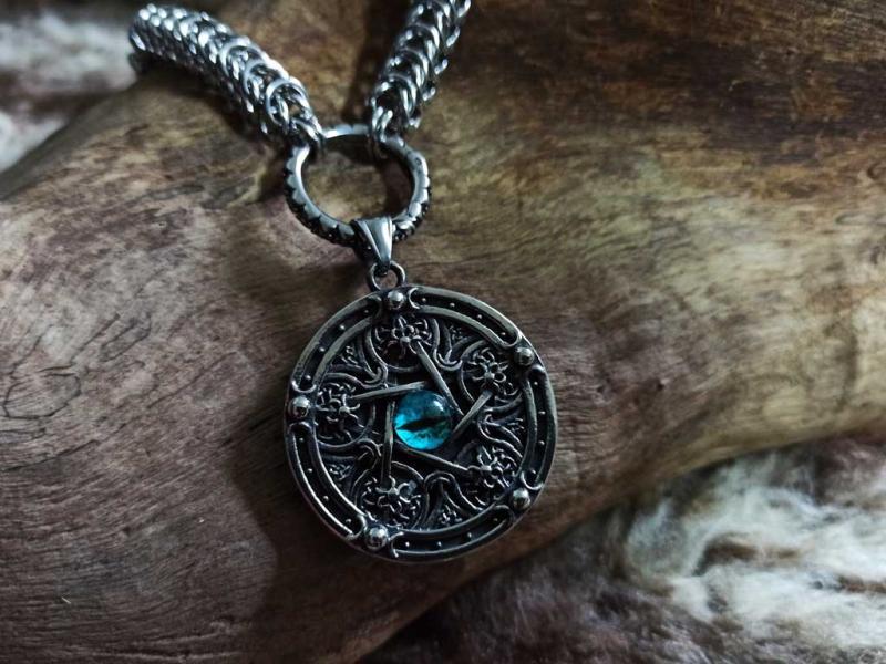 Drachenglieder Edelstahlkette Pentagramm