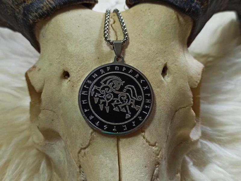 Odin's eight-legged warhorse Sleipnir made of stainless steel