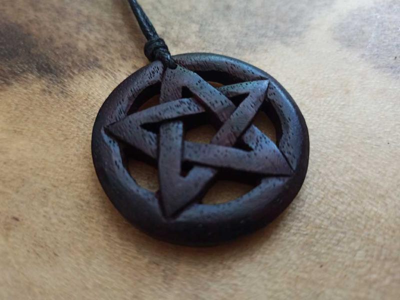Wide pentagram made of wood