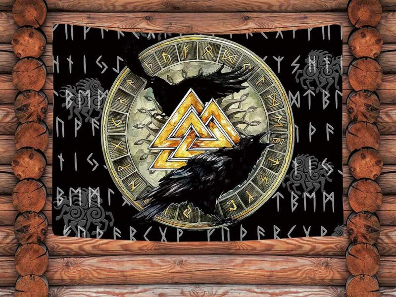 Wall cloth wall hanging designed with many symbols of Norse mythology and the Vikings