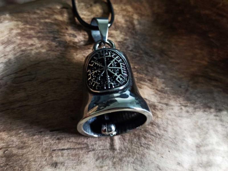 Edelstahlanhänger Glocke mit Vegvisir