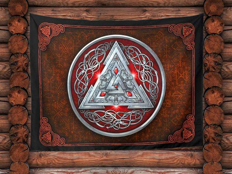 Large wall hanging wall cloth from the Norse mythology Valknut ravens