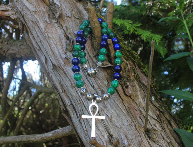 Ankh to Lapislazuli - Malachite Collier