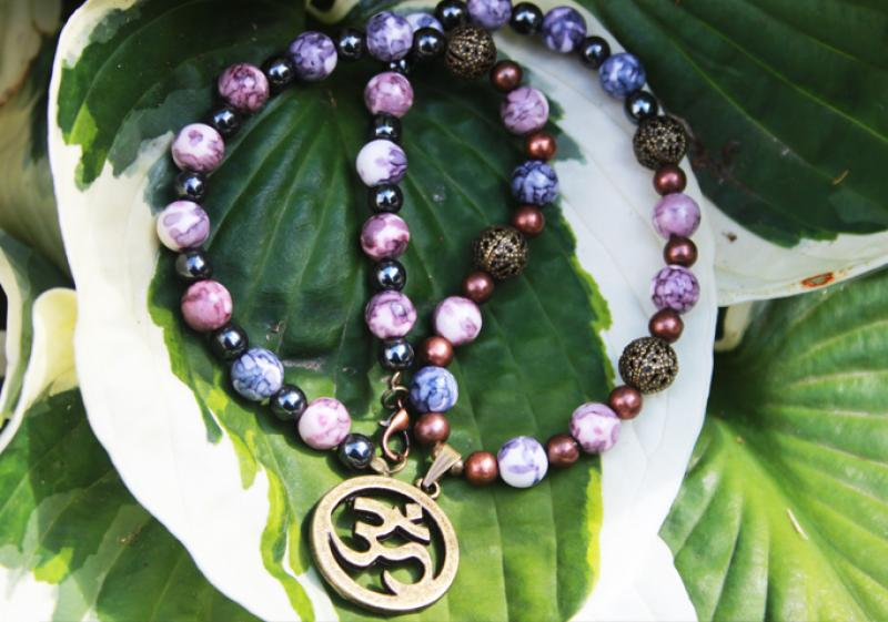 Aum (Om) on rainbow, hematite and copper beads