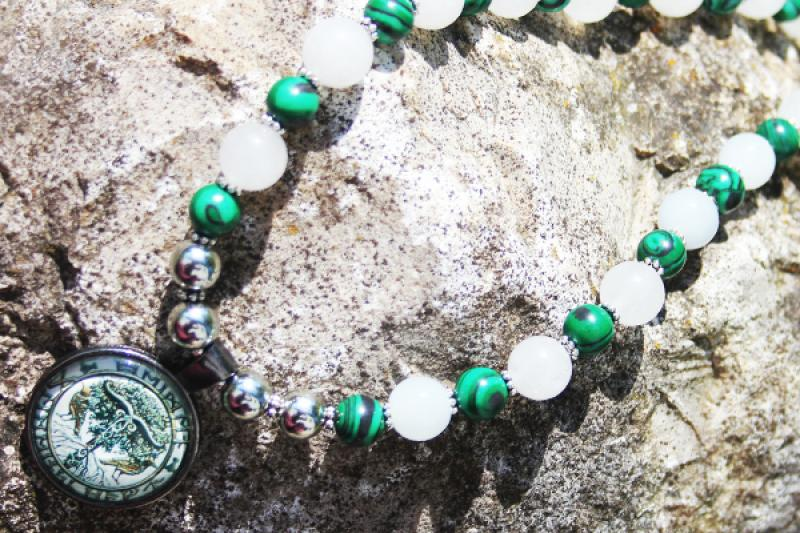 Irminsul-Yggdrasil Amulet of milky jade and malachite