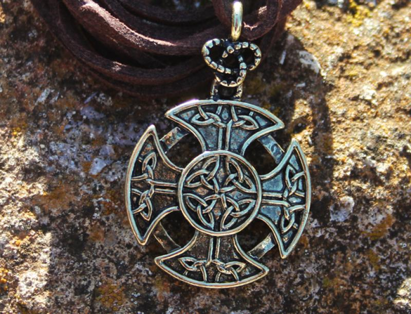 Celtic cross on leather strap