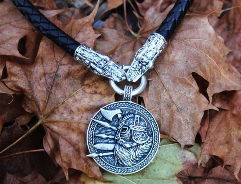 Viking warrior on thick dragon leather strap