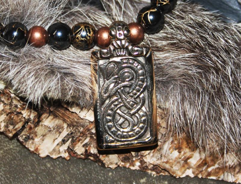 Midgard snake bronze on hematite copper beads