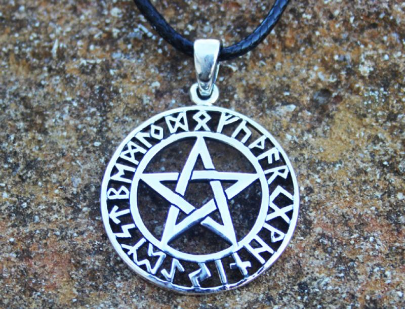 Celtic pentagram with runes