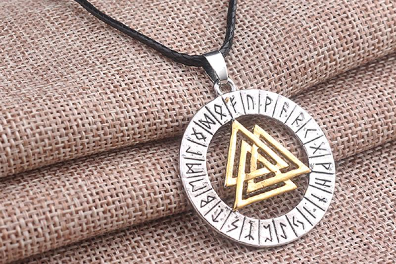Pendant with a run circle and Valknut from the Nordic mythology