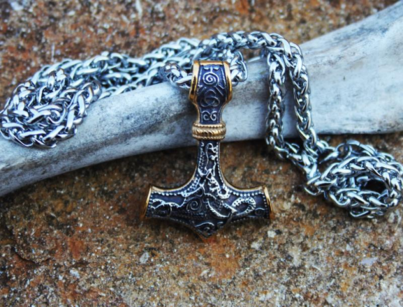 Stainless steel - Gold Thorhammer