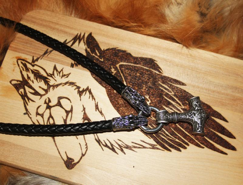 Thorhammer on dragon - leather necklace