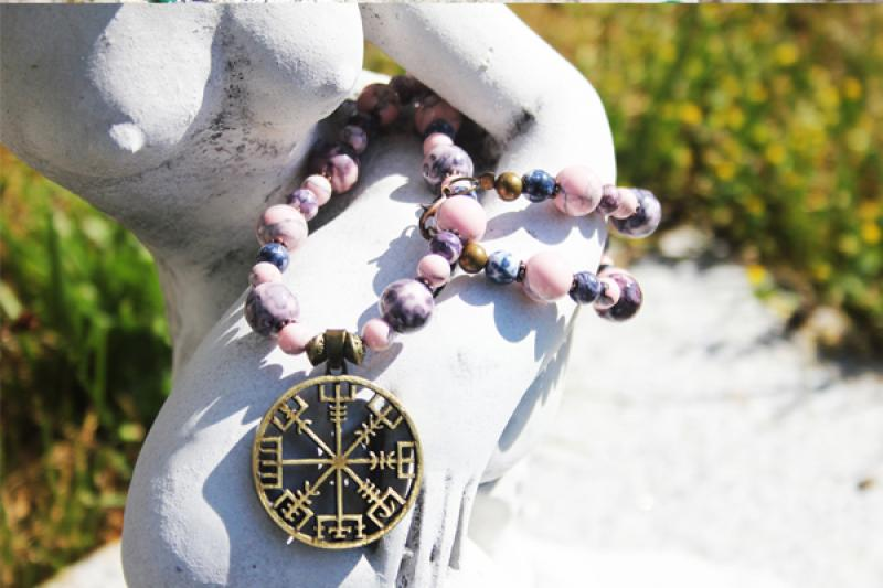 Vegvisir to Picasso jasper and pink natural stone