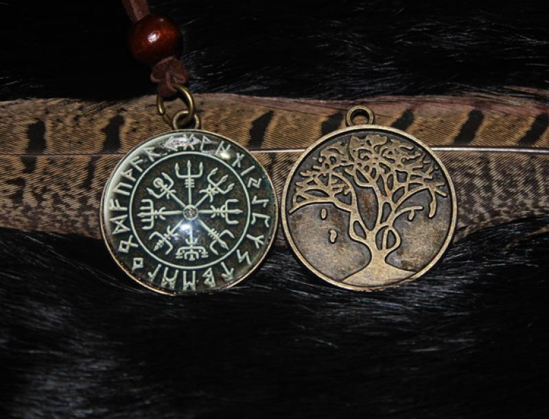 Vegvisir with tree of life on the back