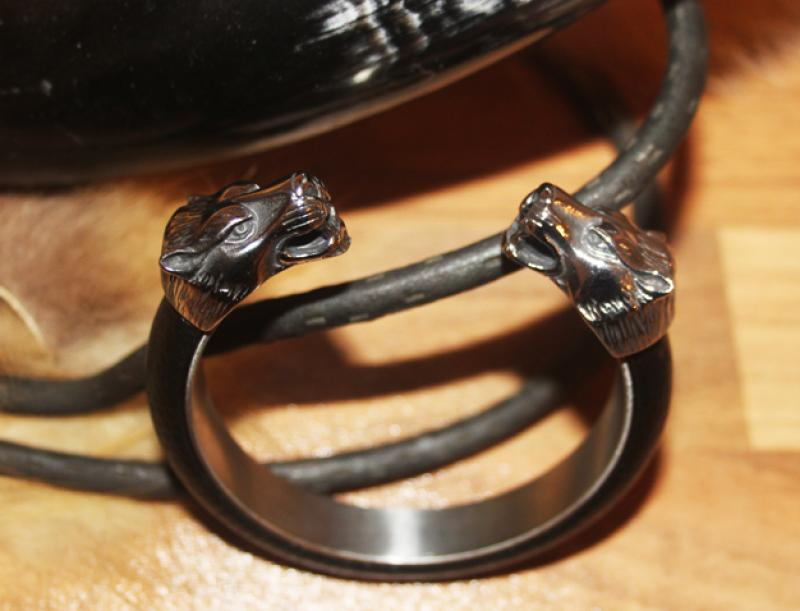 Stainless steel leather Wolf bangle