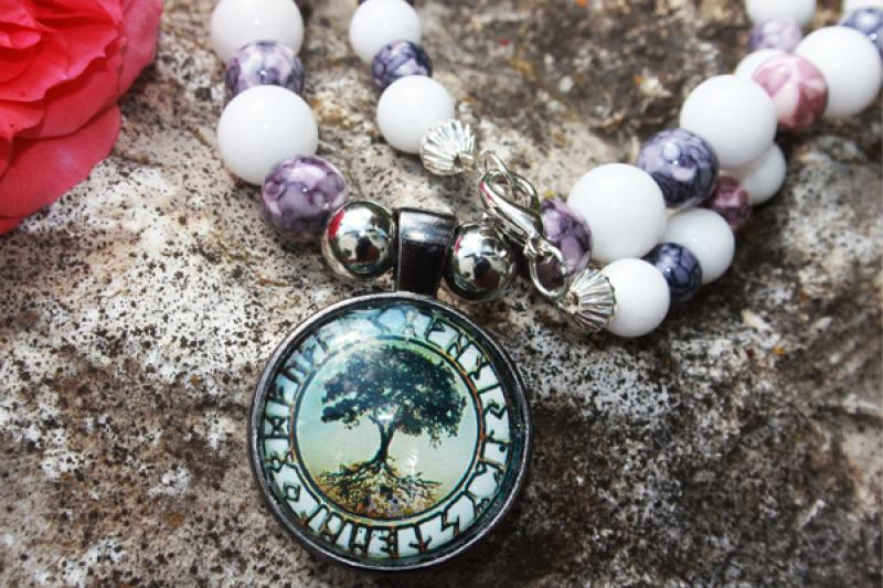 Yggdrasil amulet on white coral and rainbow