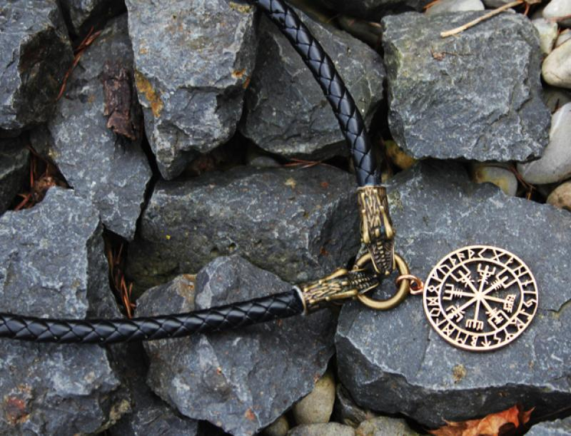 Bronze Vegvisir on dragon leather necklace