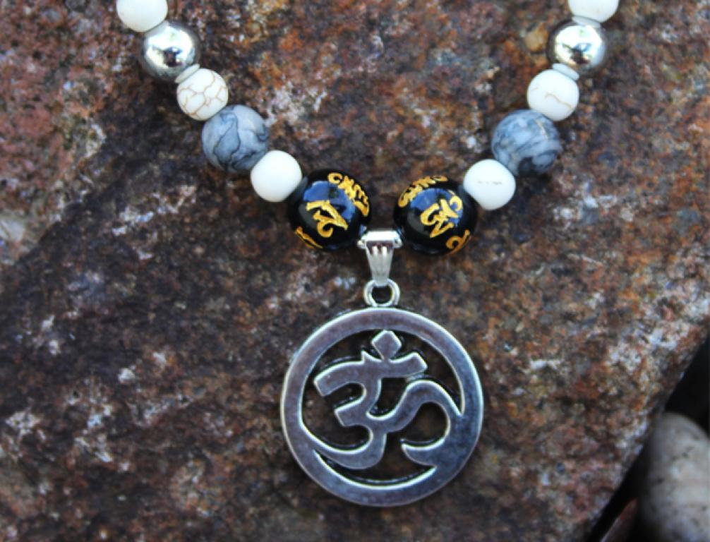 Aum (Om) to Picasso jasper and turquoise howlite