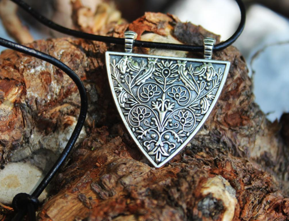 Germanic shield on leather strap