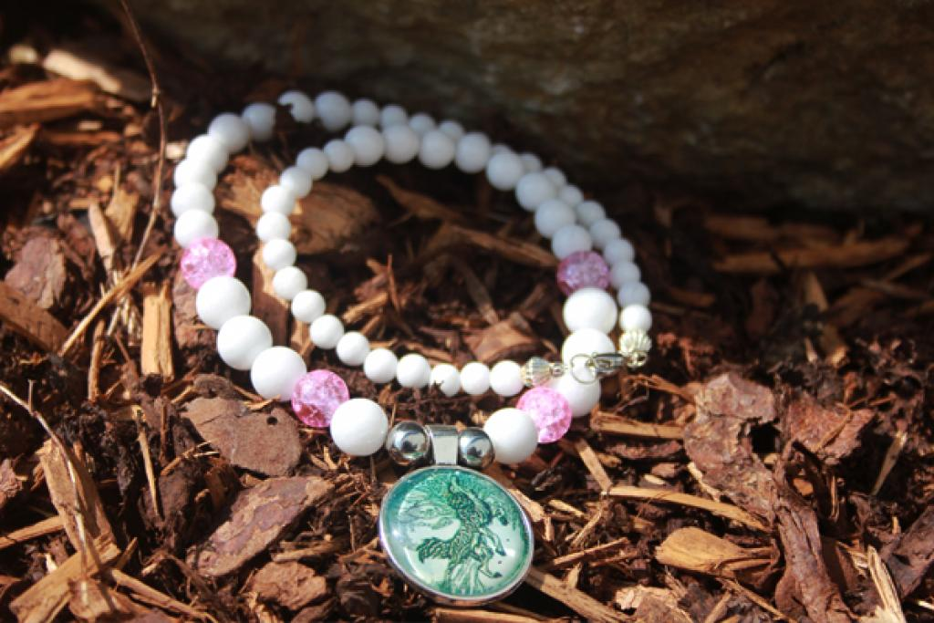 Fenriswolf on white coral and crystal crunch beads