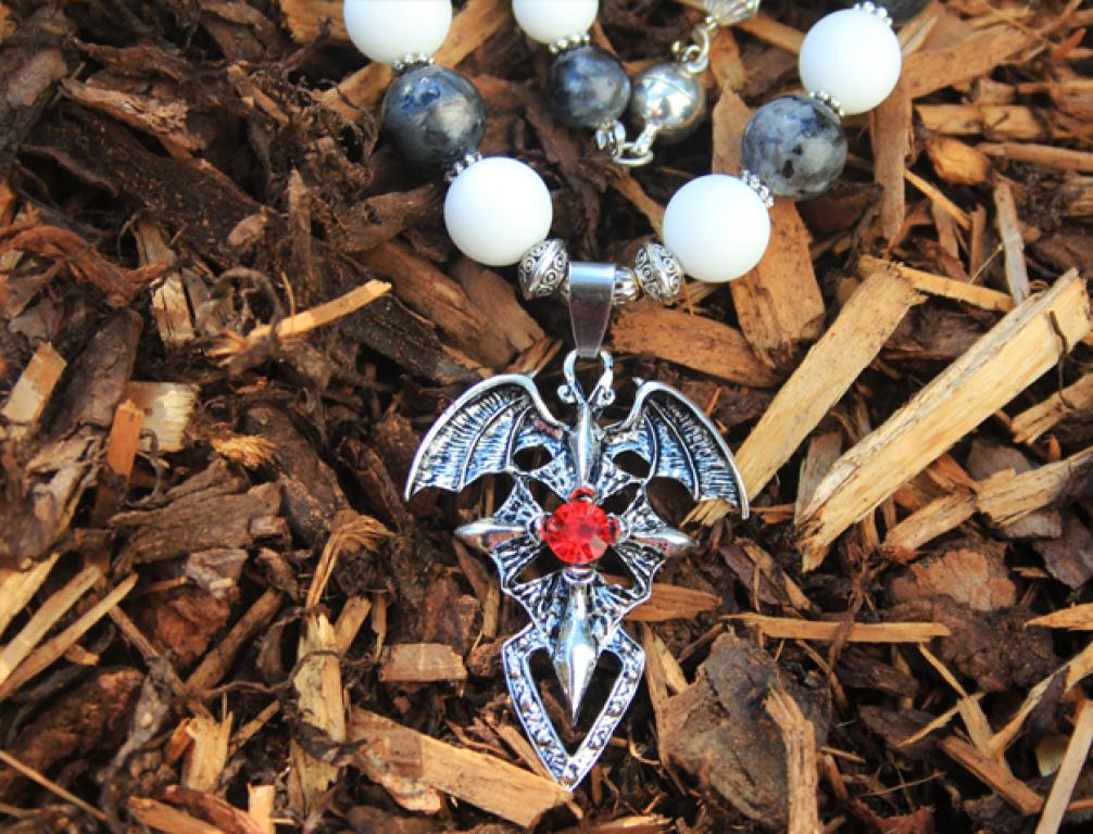 Bat cross in white onyx and gray rainbow moonstone