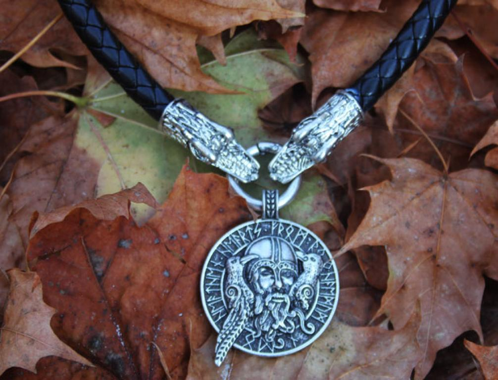 Odin with ravens on thick dragon leather chain