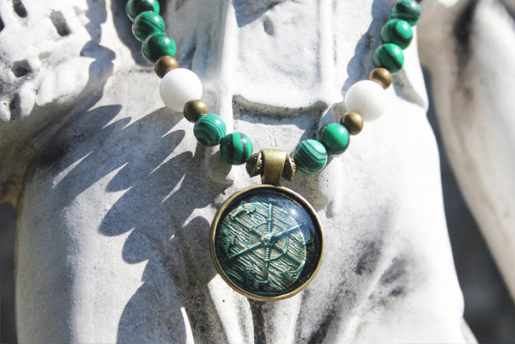 Amulet shield of the Perun with malachite and white jade
