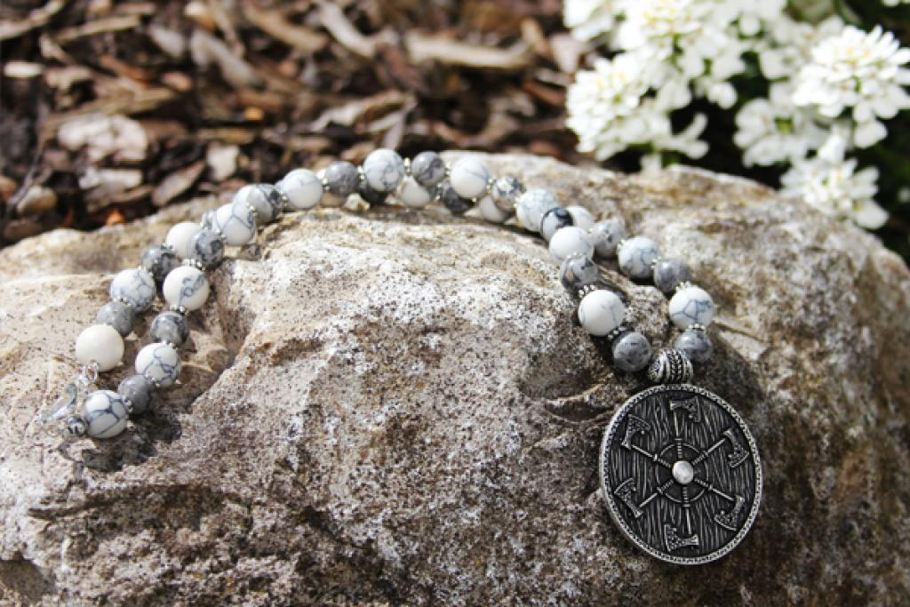 Shield of Perun with white turquoise and gray Picasso Jasper necklace