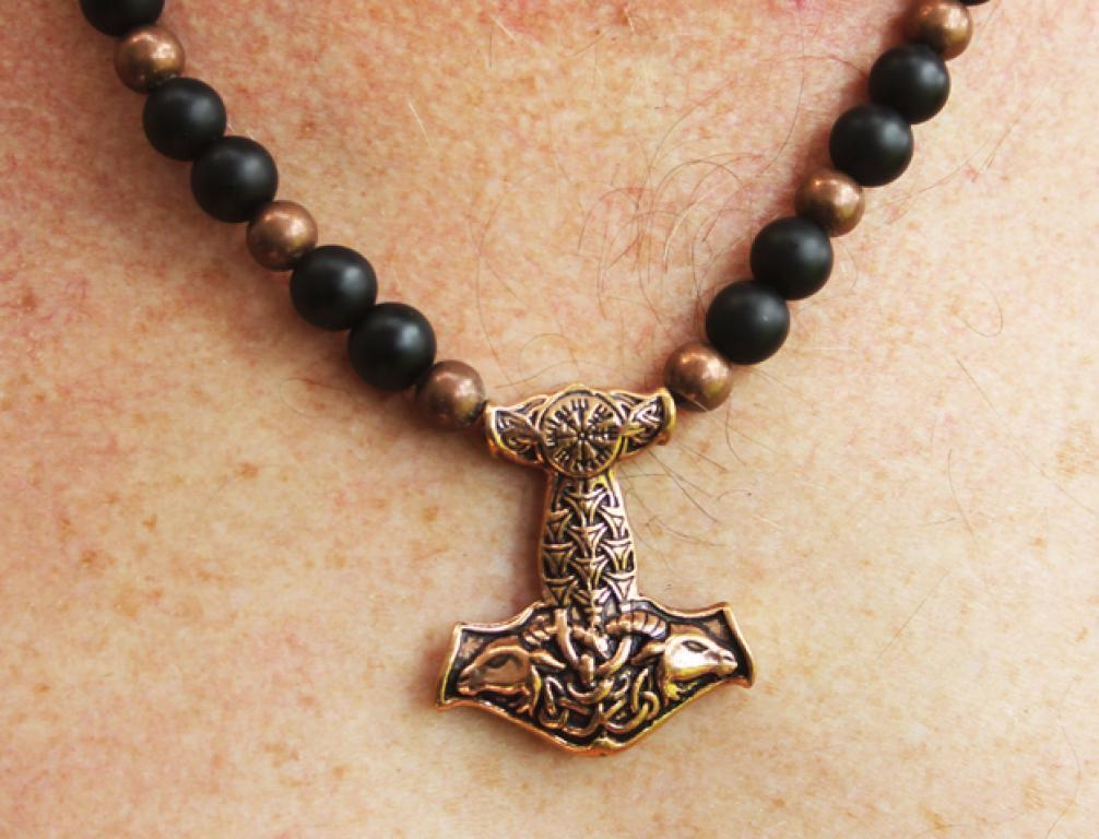 Bronze Aries Thorhammer on onyx and copper beads