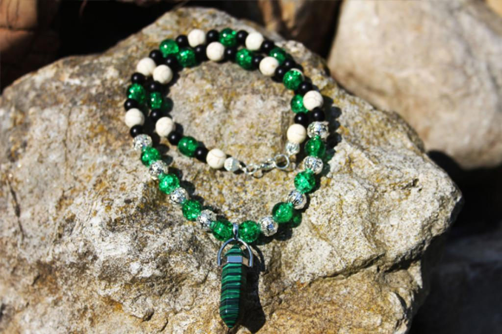 Malachite, Turquoise Howlite, Crystal Crunch Beads,