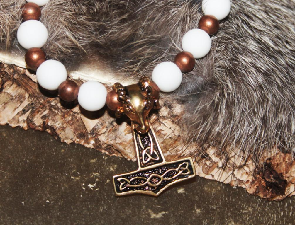Thorhammer on white onyx and copper beads