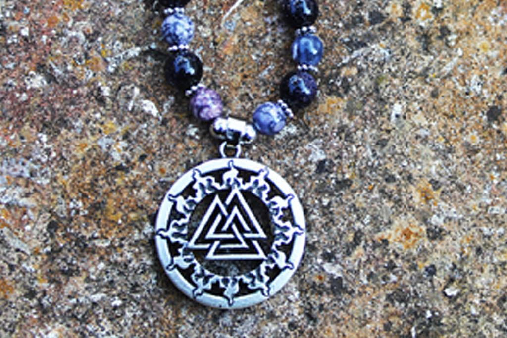 Valknut on flow and rainbow stone
